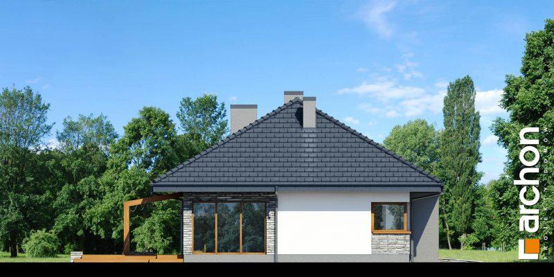 """Szkic projektu domu on nazwie """"Dom w santolinach"""" - lewy bok domu, widok na salon i kuchnię"""