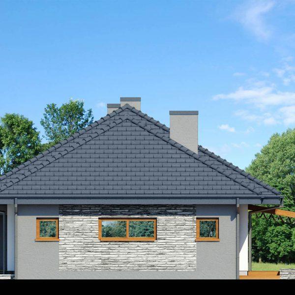 """Szkic projektu domu on nazwie """"Dom w santolinach"""" - prawy bok domu, widok na garaż"""