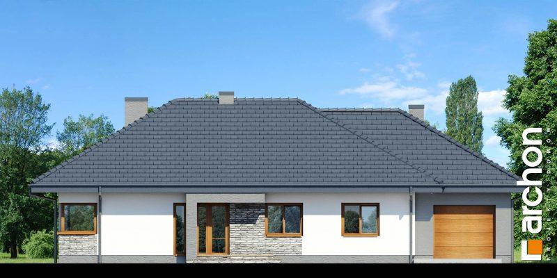 """Szkic projektu domu on nazwie """"Dom w santolinach"""" - front"""