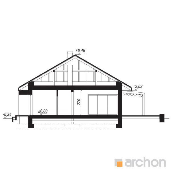"""Szkic projektu domu on nazwie """"Dom w santolinach"""" - przekrój boczny"""