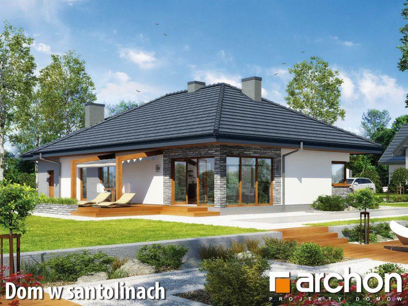"""Szkic projektu domu on nazwie """"Dom w santolinach"""" - tył oraz lewy bok domu"""
